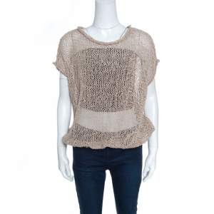 Brunello Cucinelli Brown Faux Suede Open Knit Oversized Top L