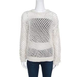 Brunello Cucinelli Cream Chunky Open Knit Cotton Long Sleeve Sweater L