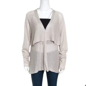 Brunello Cucinelli Beige Sequined Knit Layered Long Sleeve Cardigan XXL
