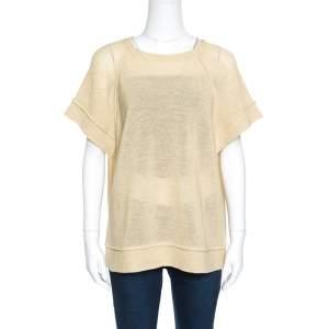 Brunello Cucinelli Beige Perforated Knit Raglan Sleeve Crew Neck Sweater XL