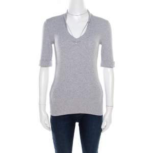 Brunello Cucinelli Grey Ribbed Cotton Sparkle Bead Embellished Top L