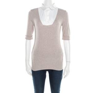Brunello Cucinelli Beige Collar Yoke Ribbed Sweater Top M