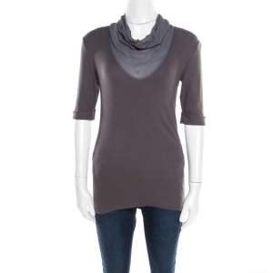 Brunello Cucinelli Dark Grey Cotton Rib Knit Monili Trim Cowl Neck Top XL