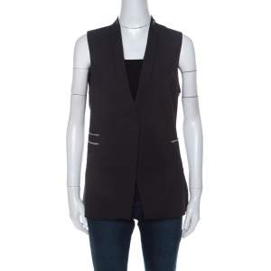 Brunello Cucinelli Charcoal Grey Wool Blend Monili Bead Detail Vest M
