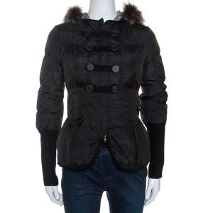 Brunello Cucinelli Black Fur Collar Ribbed Trim Peplum Puffer Jacket S