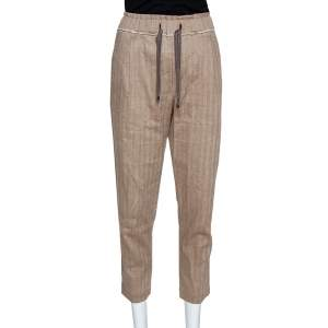 Brunello Cucinelli Brown Linen Cotton Cropped Trousers S