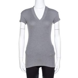 Brunello Cuccinelli Grey Rib Knit Beaded Neck Fitted Top S