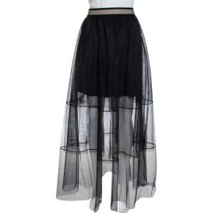 Brunello Cucinelli Black Tulle Tiered Overlay Maxi Skirt M