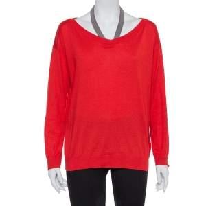Brunello Cucinelli Red Cashmere & Silk  Embellished Neck Detail Top M