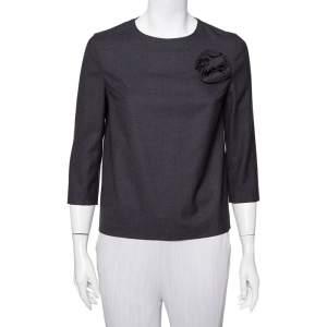 Brunello Cucinelli Charcoal Grey Wool Floral Applique Detail Top S