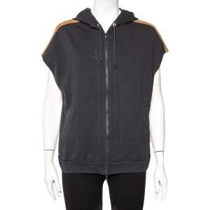 Brunello Cucinelli Grey Cotton Contrast Trim Detail Sleeveless Hoodie XL