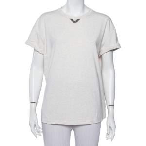 Brunello Cucinelli Beige Cotton Neck Trim T-Shirt XXL