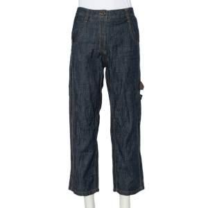 Brunello Cucinelli Navy Blue Lightweight Denim Cropped Carpenter Jeans S