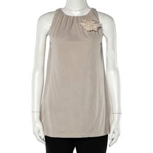 Brunello Cucinelli Beige Cotton Knit Applique Detail Sleeveless Tunic M