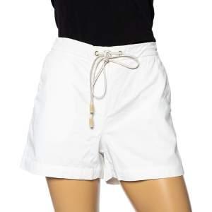 Brunello Cucinelli White Cotton Cinched Waist Tie Detail Shorts S