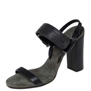 Brunello Cucinelli Black Leather Bead Detail Ankle Strap Sandals Size 37