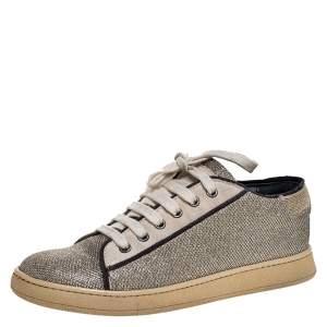 Brunello Cucinelli Gold/Silver Glitter Fabric Low Top Sneakers Size 38