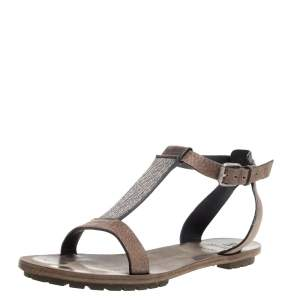 Brunello Cucinelli Light Brown Leather Bead Detail Flat Sandals Size 38