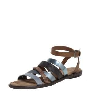 Brunello Cucinelli Multicolor Leather Embellished Flat Sandals Size 37