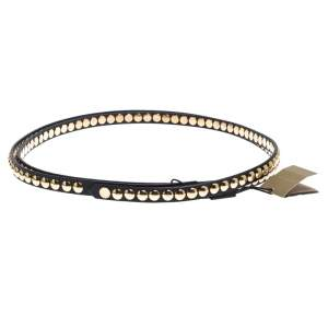 Burberry Black Studded Leather Double Wrap Belt 90CM