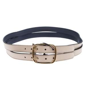 Burberry Ivory Leather Lynton Double Strap Belt 95CM