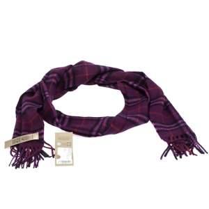 Burberry Purple Tonal Vintage Check Cashmere Scarf