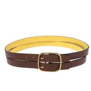 Burberry Brown/Yellow Leather Lynton Double Strap Belt 95CM