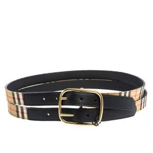 Burberry Beige/Black House Check Canvas and Leather Lynton Double Strap Belt 90CM