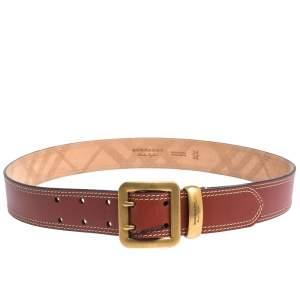 Burberry Cinnamon Brown Leather Morgan Buckle Belt 85CM