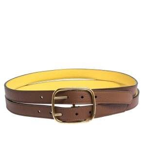 Burberry Brown/Yellow Leather Lynton Double Strap Belt 80CM