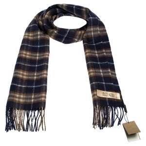 Burberry Dark Saphire Classic Vintage Check Cashmere Scarf