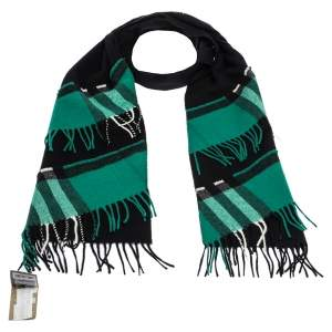 Burberry Black & Green Patchwork Nova Check Cashmere Scarf
