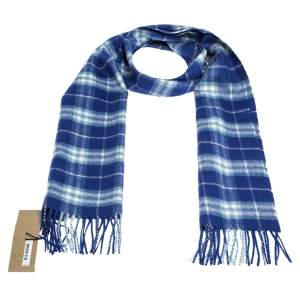 Burberry Blue Classic Vintage Check Cashmere Scarf