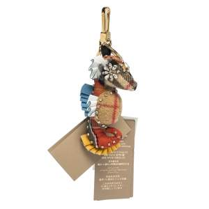 Burberry Multicolor Cashmere and Leather Seahorse Crystal Key Ring / Bag Charm