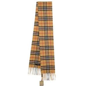 Burberry Antique Yellow Vintage Check Long Skinny Cashmere Scarf