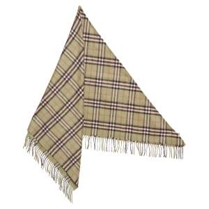 Burberry Pale Powder Green Vintage Check Cashmere Bandana