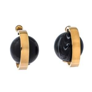 Burberry Midnight Marble Light Gold Tone Hoop Earrings