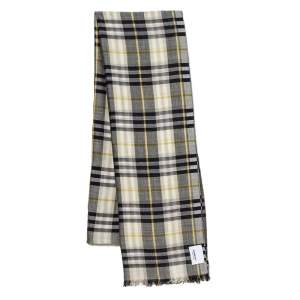 Burberry Sage Green Vintage Check Silk Wool Scarf