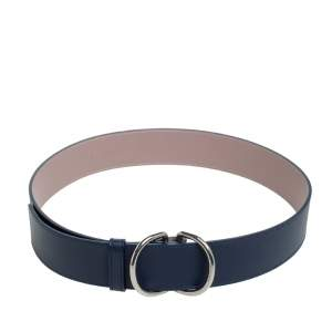 Burberry Navy Blue Leather D Ring Buckle Belt S