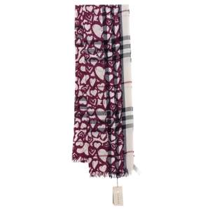 Burberry Purple Heart Print Nova Check Lightweight Wool & Cashmere Scarf