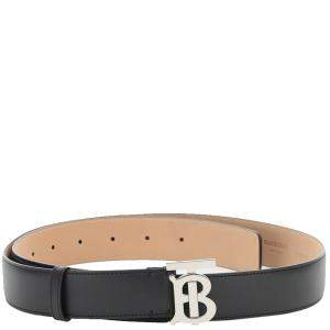 Burberry Leather Tb Logo Plaque Belt Size L