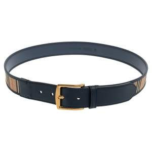 Burberry Navy Blue Housecheck Canvas and Leather Gray Buckle Belt 95CM