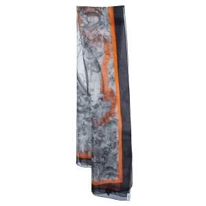 Burberry Monochrome Scarf Print Chiffon Silk Scarf