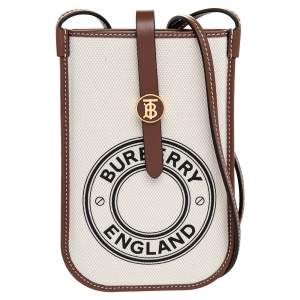Burberry Off White/Brown Canvas And Leather Anne Phone Case