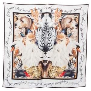 Burberry White Animal Portrait Printed Silk Square Scarf