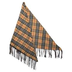 Burberry Beige Vintage Check Cashmere Fringed Bandana Shawl