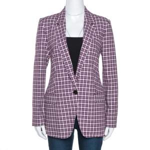 Burberry Burgundy Plaid Check Cotton Blazer S