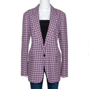 Burberry Burgundy Plaid Check Cotton Blazer L