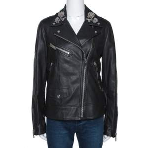 Burberry Black Floral Embroidered Leather Peebles Jacket S