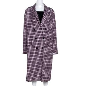 Burberry Burgundy Plaid Check Cotton Double Breasted Coat L